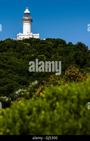View of Cape Byron Lighthouse from Wategos in Byron Bay. - Stock Image