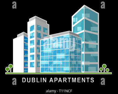 Dublin Apartments Image Depicts Irish Condo Real Estate Buying. Property Available In Eire Location - 3d Illustration - Stock Image