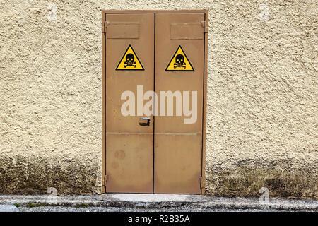 High voltage door . sign danger zone on electric cabin - Stock Image