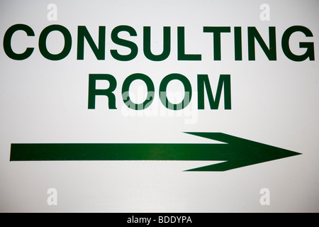 Consulting Room Sign in Veterinary Clinic - Stock Image