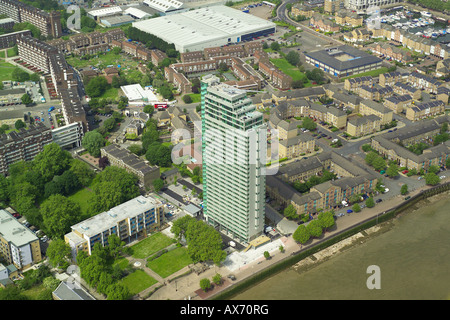 Aerial view of the Aragon Tower overlooking the River Thames in Deptford, London - Stock Image
