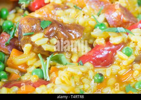 Spanish style Sausage Paella, - Stock Image