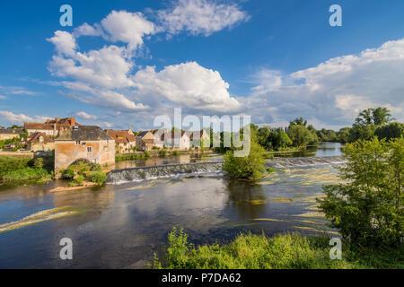 Water mill and wier across river Gartempe, Saint-Pierre-de-Maillé, France. - Stock Image