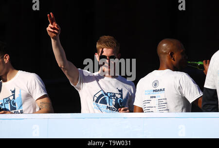 Manchester City's Kevin De Bruyne during the trophy parade in Manchester. - Stock Image
