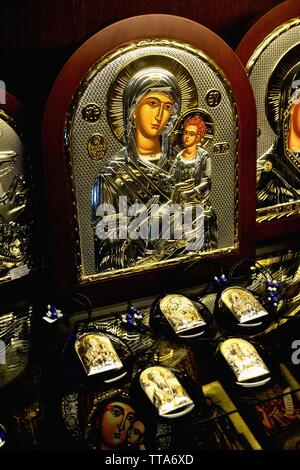 Orthodox icons for sale  - Memorial Church  in SHIPKA. Province of Stara Zagora.BULGARIA - Stock Image