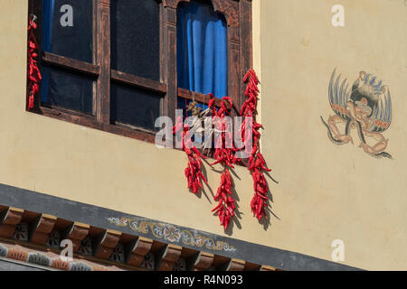 Chilis Drying at a house in Thimpu, Bhutan - Stock Image