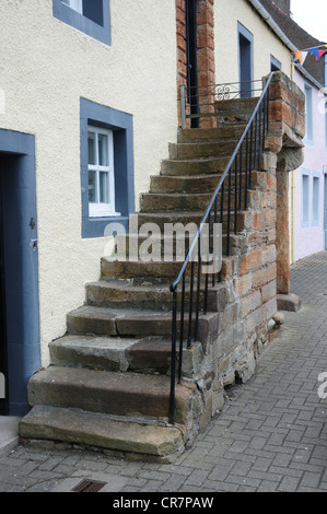 Staircase leading to front door of house in the Fife fishing village of St Monans - Stock Image