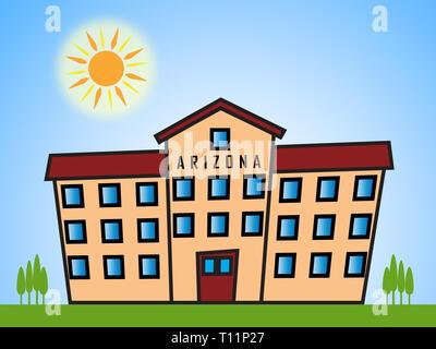 Arizona Property Apartments Show Real Estate Broker In Az United States 3d Illustration - Stock Image