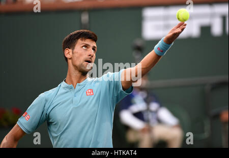 Indian Wells, California, USA. 12th March 2017. Novak Djokovic (SRB) in action against Kyle Edmund (GBR) during - Stock Image