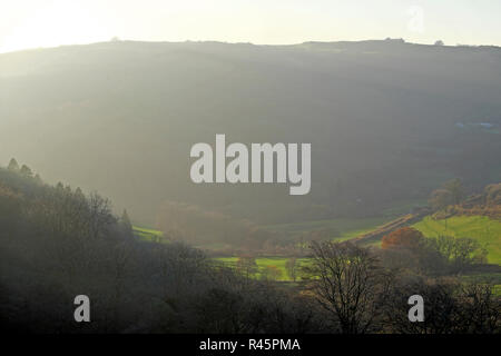 View of a Welsh valley and big hill in autumn landscape with copy space and green fields in Carmarthenshire West Wales UK  KATHY DEWITT - Stock Image