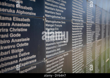 Kigali, Rwanda. 6th April 2014. A wall of remembrance outside The Kigali Genocide Memorial Centre with some of the names of people killed at the site during the genocide against the Tutsis. This week marks the 20th anniversary of the genocide. During the approximate 100-day period from April 7th 1994 to mid-July, an estimated 500,000–1,000,000 Rwandans were killed, constituting as much as 20% of the country's total population and 70% of the Tutsi then living in Rwanda. - Stock Image