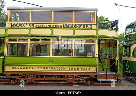 Wirral public Tram, Green Cream, Merseyside, North West England, UK - Stock Image