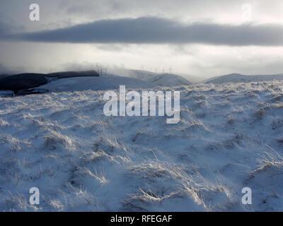 Snowy scenery, Castle Hill, Abington, Scotland - Stock Image