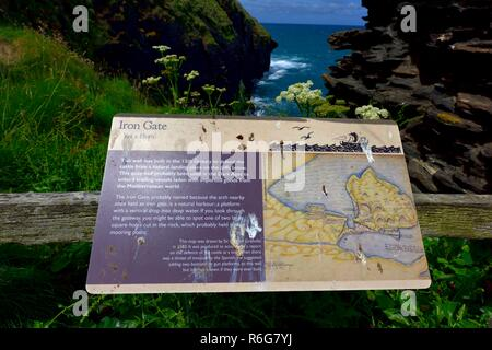 Iron Gate,Tourist information sign,Tintagel Castle,Cornwall,England,UK - Stock Image
