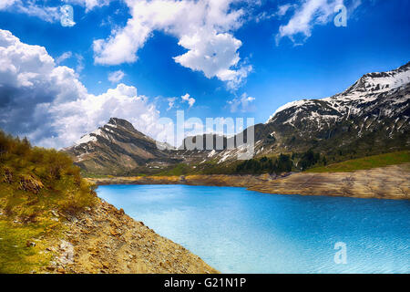 Lac de Roselend in the French Alps. - Stock Image
