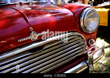 Red Morris Mini Cooper S, a classic British motor car. - Stock Image