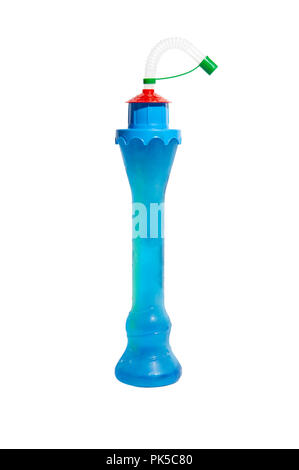 Castle/Light House Novelty Slush Yard Cup with multicolour slush on a white background - Stock Image