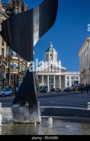 The Whirling Ear statue by Alexander Calder and Place Royale, Saint Jacques sur Coudenberg Church behind in Brussels, Belgium - Stock Image