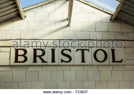 Bristol sign on glazed ceramic tiles at Bristol Temple Meads Railway Station, England, UK - Stock Image