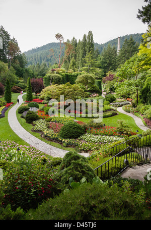 The Sunken Garden at The Butchart Gardens, Vancouver Island, BC, Canada - Stock Image
