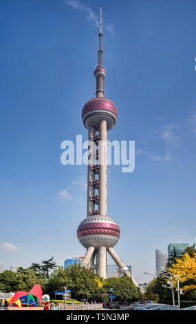 1 December 2018: Shanghai, China - Oriental Pearl Tower in the Pudong district, a radio and TV broadcasting tower which is also an observation tower a - Stock Image