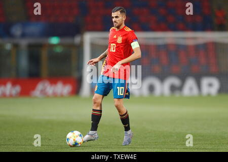 the Stadio Renato Dall'Ara, Bologna, Italy. 22nd June, 2019. Dani Ceballos (ESP), JUNE 22, 2019 - Football/Soccer : UEFA European Under-21 Championship 2019 Group stage match between Under-21 Spain 5-0 Under-21 Poland at the Stadio Renato Dall'Ara, Bologna, Italy. Credit: Mutsu Kawamori/AFLO/Alamy Live News - Stock Image