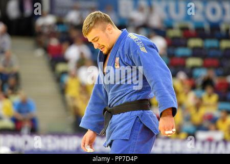 Baku, Azerbaijan. 24th Sep, 2018. Czech judoka David Klammert is seen during the World Judo Championships at National Gymnastics Arena in Baku, Azerbaijan, on September 24, 2018. Credit: David Svab/CTK Photo/Alamy Live News - Stock Image