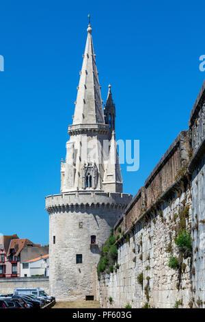 La Tour de la Lanterne or Tower of the Lantern in the Vieux Port of La Rochelle on the coast of the Poitou-Charentes region of France. - Stock Image