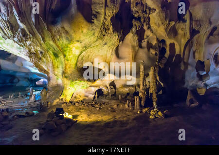 Orlova Chuka cave, Russe, Bulgaria. The cave is home for 14 species of bats and green microorganisms. - Stock Image