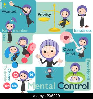 A set of women wearing hijab who control emotions.A variety of image illustrations expressing self emotion.It's vector art so it's easy to edit. - Stock Image