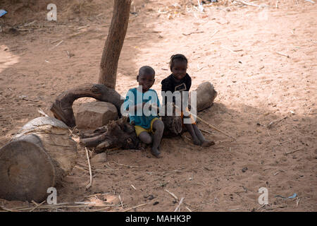 Indigenous Dogon tribe children playing while taking shelter from the midday sun under a tree. Dogon country, Mali, West Africa. - Stock Image