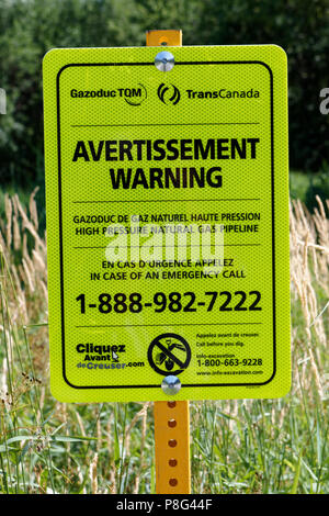 Warning sign for TransCanada underground gas line - Stock Image
