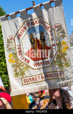 Tolpuddle, UK. 22nd July 2018. Tolpuddle Martyrs' Festival. Jeremy Corbyn took part in the procession through Tolpuddle. Organised by the TUC. Credit: Stephen Bell/Alamy Live News. - Stock Image