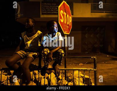 Homeless street children in Freetown, Sierra Leone - Stock Image