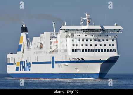 The ferry Peter Pan was lengthened in 2018, here she arrives at Travemünde - Stock Image