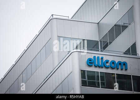 MONTREAL, CANADA - NOVEMBER 5, 2018: Logo of Ellicom on their main office in Montreal at dusk. It is the Canadian leader in digital solutions for e-le - Stock Image