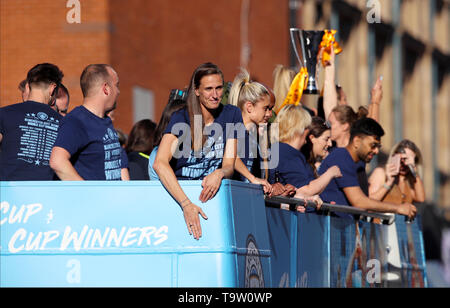 Manchester City's Jill Scott during the trophy parade in Manchester. - Stock Image