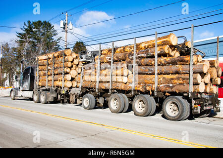 A semi truck heavily loaded with logs parked on the main street of Speculator, NY USA - Stock Image