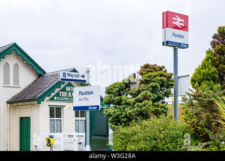 ScotRail Plockton train station with name sign, Highlands, Scotland, UK - Stock Image
