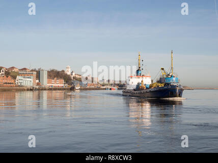 Grab hopper dredger Cherry Sand, operated by UK Dredging, passes North Shields, north east England, UK - Stock Image