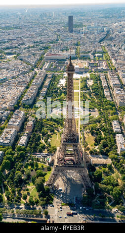 Aerial view of the Eiffel Tower with the park Champ de Mars and the river Seine, Paris, France - Stock Image