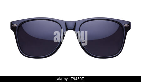 Black Shades Sunglasses Front View Cut Out on White. - Stock Image