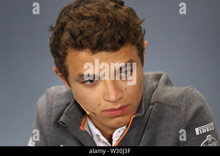 Silverstone, Northampton, UK. 11th July 2019. F1 Grand Prix of Great Britain, Driver arrivals day; McLaren, Lando Norris during driver press conference Credit: Action Plus Sports Images/Alamy Live News - Stock Image