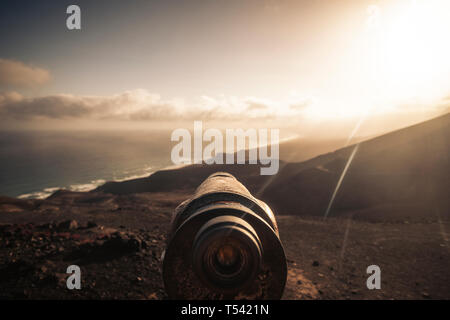 Observator view for adventure wild nature outdoors concept and alternative travel vacation scenic place - beach and mountains at the sunset in backgro - Stock Image