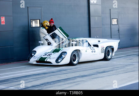 Robert Beebee  with his White, Lola T70 MkIIIB, outside the International Pit Garages, during the 2019 Silverstone Classic Media Day - Stock Image