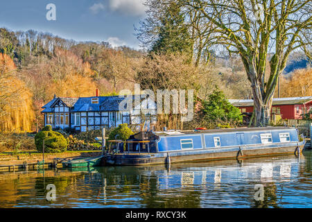 Boats On The River,  Henley On Thames, Oxfordshire, UK - Stock Image