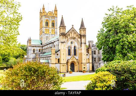 Buckfast Abbey, Buckfastleigh Devon UK, Buckfast Abbey exterior, Buckfast Abbey building, facade, Benedictine monastery, Buckfast, Abbey, Abbeys, UK - Stock Image