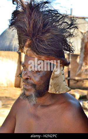 Zulu 'Chief ' troupe member of the Shakaland Cultural Village in a re - Stock Image