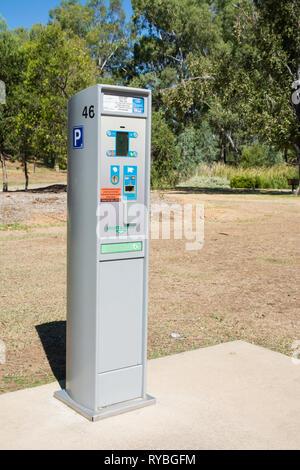 Pay and Display parking ticket machine at Tamworth Australia. - Stock Image