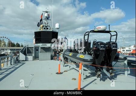 Deck and bridge of the  Sea Shepherd's custom-built, high speed patrol ship, the 'Ocean Warrior', with - Stock Image